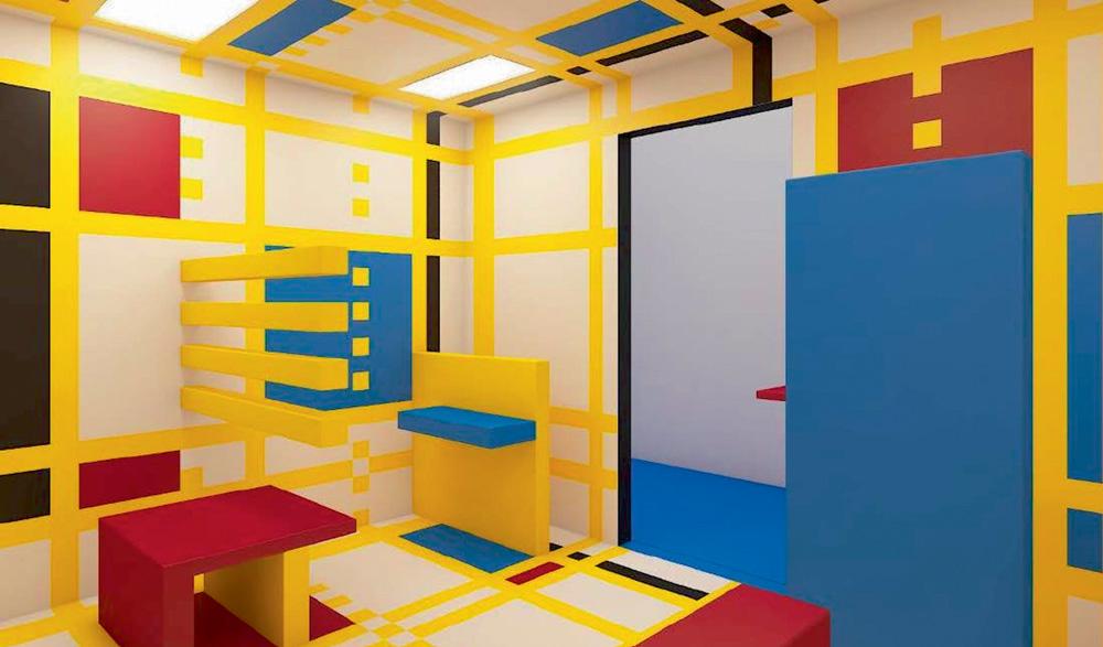 Projeto em computação de uma exposição. Uma sala é estampada nas cores azul, amarelo e vermelho e formas quadradas