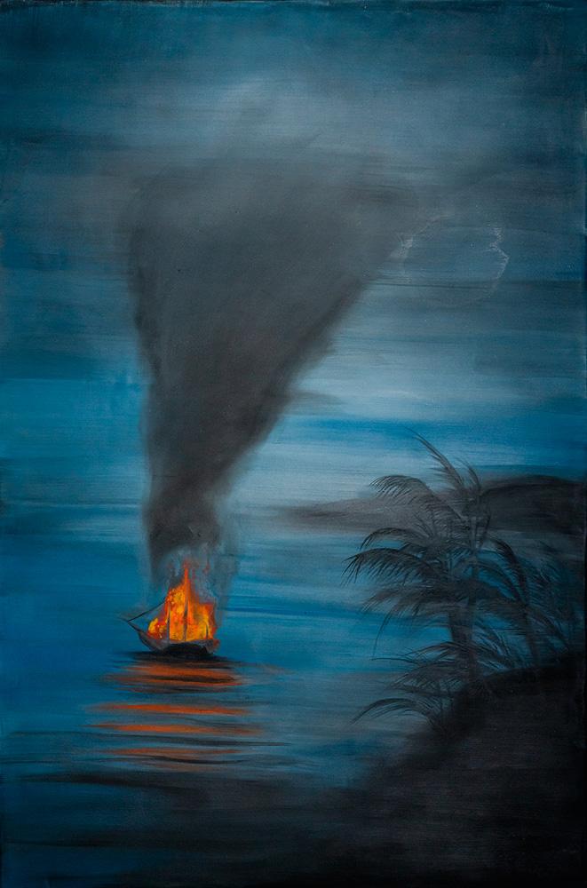 paisagem de mar com uma caravela pegando fogo e soltando fumaça cinza