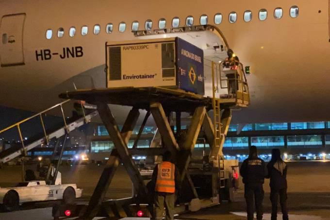 Chegada dos insumos da CoronaVac no Aeroporto de Guarulhos.