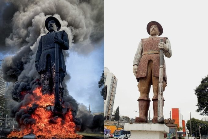 imagem dividida em duas. à esquerda, estátua de borba gato em chamas, à direita, estátua de borba gato antes das chamas
