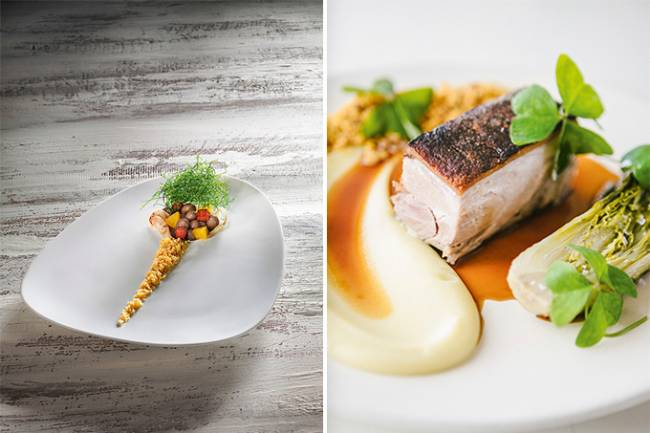 Duas fotos verticais unidas por linha fina branca. À esquerda, feijoada encapsulada da chef Helena Rizzo, coberta por fios de couve e linha de farofa. À direita, leitoa assada com purê de maçã e caldo da carne.
