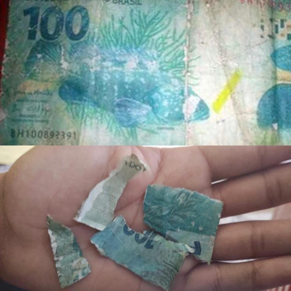 foto dividida em duas. acima, a nota falsa de 100 reais inteira e, abaixo, a nota rasgada na mão de alguém