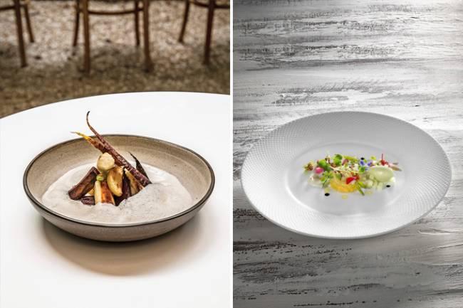 Duas imagens verticais unidas por linha fina branca. À esquerda o prato maniocas, da chef Helena Rizzo, cerâmica funda. À direita a salada waldorf em prato de louça branca.