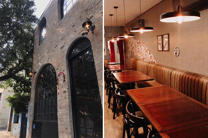 Duas imagens verticais do restaurante Me.Vá unidas por linha fina branca. À esquerda, fachada em estilo medieval. À direita, salão com mesas e banco estofado contínuo.