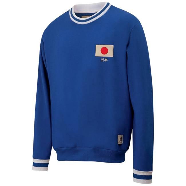 Moletom azul escuro tem bandeira japonesa pequena no local do peito