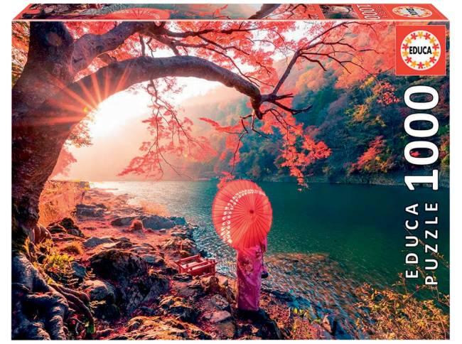 no Rio Katsura no Japão. Há flores rosas por toda imagem