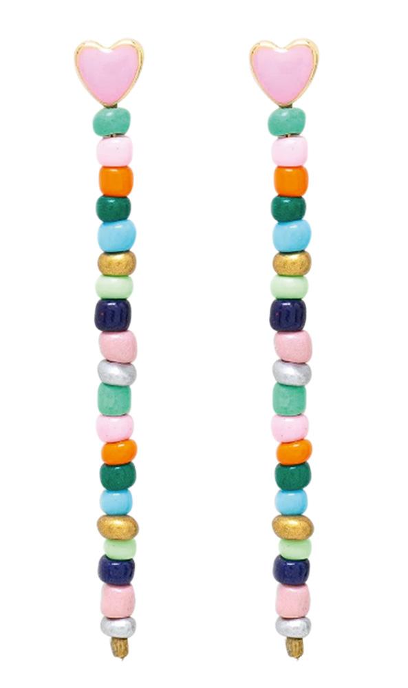 Par de brincos em pedrinhas e cascata coloridas