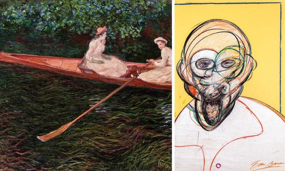 A imagem é uma montagem com duas obras. À esquerda, uma pintura com duas moças de vestido em uma canoa. À direita, a obra de Bacon, é um homem careca pintado de forma artística, em um fundo amarelo.