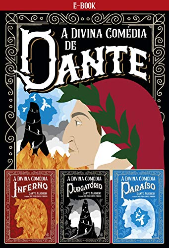 Capa do livro A Divina Comédia. Tem ilustração de um senhor olhando para o lado, além do título