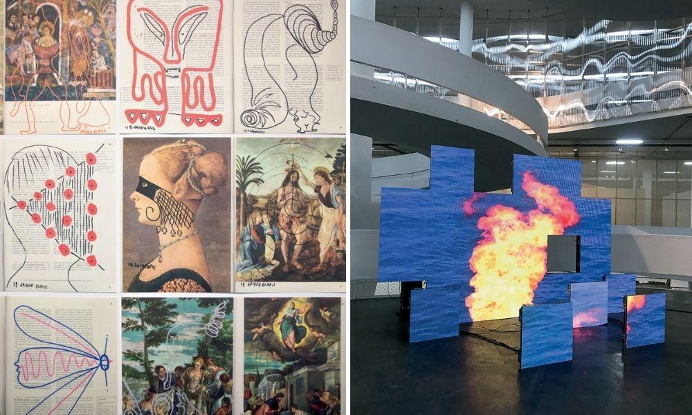 A imagem mostra duas obras. À esquerda, mostra nove artes feitas por Esbell. Elas incluem traços por cima de pinturas antigas. À direita, mostra um painel de telas de led. Cada uma delas compõe a imagem de chamas em fundo preto. Elas estão espalhadas em um plano, sem uniformidade.