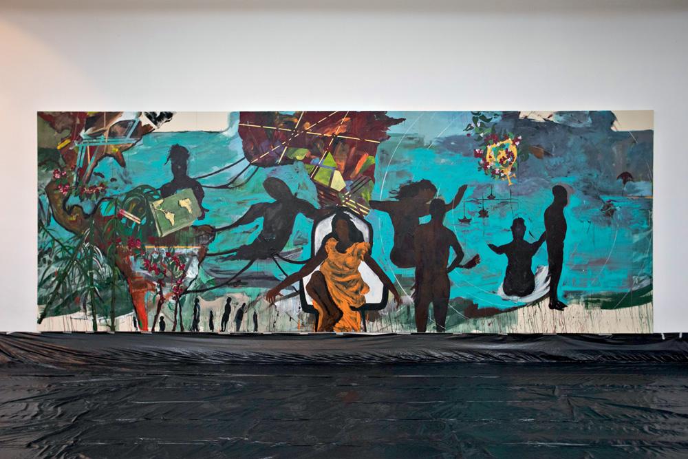 A imagem mostra uma pintura de Arjan Martins. Nela, há silhueta de pessoas e, no centro, uma mulher negra sem rosto.
