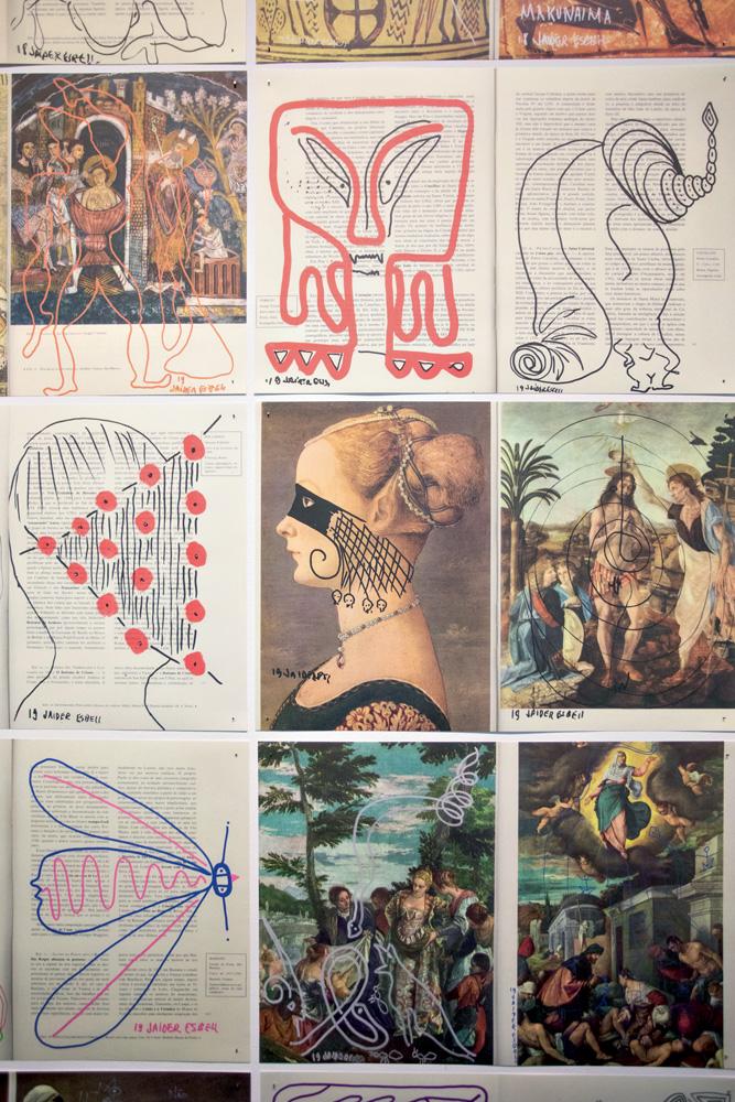 A imagem mostra nove artes feitas por Esbell. Elas incluem traços por cima de pinturas antigas.