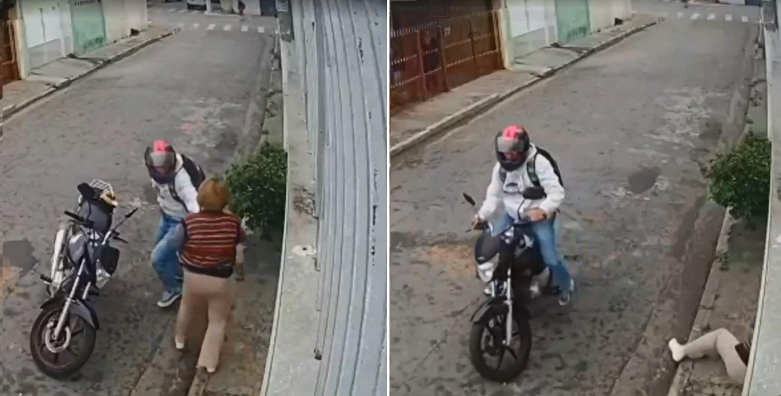 A montagem mostra dois frames do mesmo vídeo. No primeiro, o assaltante com a mão no peito da senhora. No segundo, a senhora já no chão e o assaltante fugindo sobre sua moto.