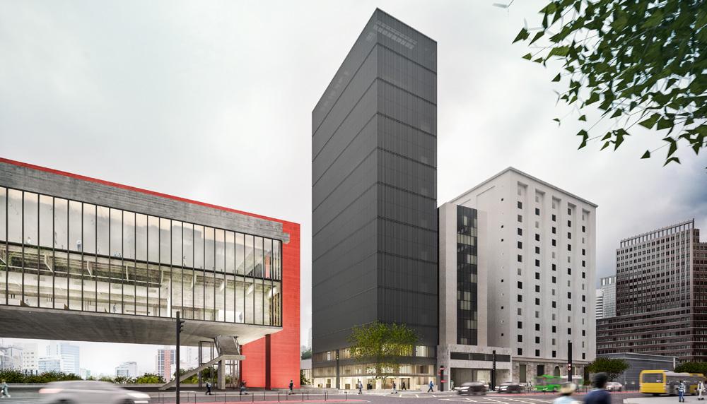 A imagem mostra a faixada do Masp com o prédio Dumont-Adams finalizado em uma projeção. Ele é maior, em termos de tamanho, que o Masp e coberto por uma malha metálica.
