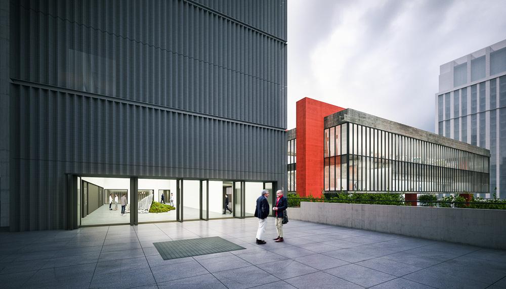 A imagem mostra um projeção do térreo do novo Dumont-Adams. O prédio está pronto e há um amplo espaço vazio em frente a ele.