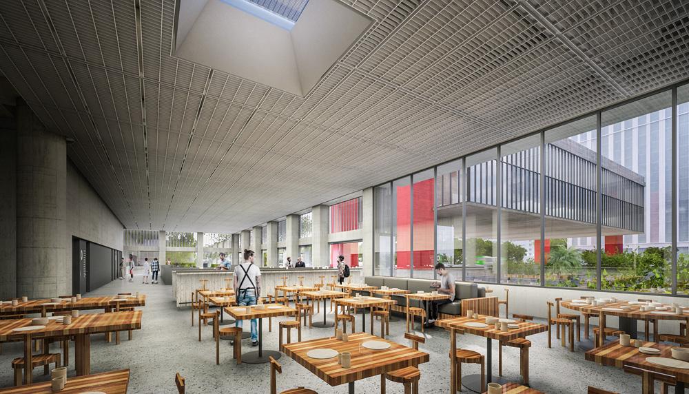 A imagem mostra uma projeção 3D do café ao lado do Masp. São várias pequenas mesas de madeira e um espaço bem aberto, com uma parede vidro ao lado.