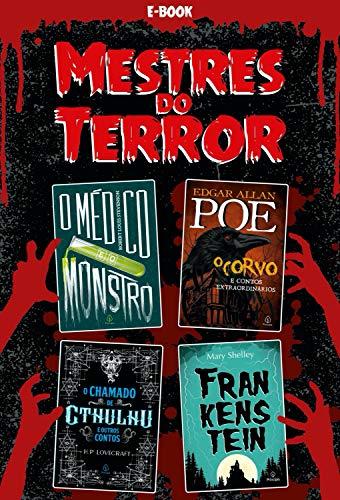 Capa da coletânea Mestres do Terror. Tem montagem dos quatro livros separados em um fundo vermelho e preto