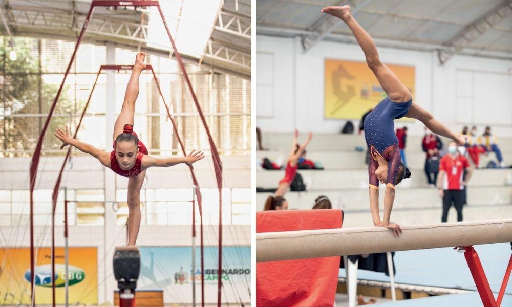 A imagem mostra uma montagem com duas fotos. À esquerda, uma ginasta jovem se equilibrando com um pé na trave, corpo inclinado e braços e outra perna estendidos. À direita, uma ginasta de ponta cabeça na trave, com as duas mãos sobre o aparelho e os pés estendidos.