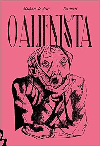 Capa do livro O Alienista. É rosa e tem um homem na ilustração