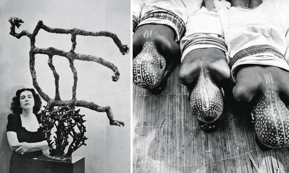 Montagem com duas fotos. À esquerda, uma imagem mostra Maria Martins, de braços cruzados, ao lado de uma escultura surrealista feita por ela. São quatro galhos espinhentos, fazendo a forma de uma bola. Em cima deles, há outros galhos mais grossos e sem espinhos e sem formato definido. À direita, uma imagem, em preto e branco, mostra três pessoas negras, com a cabeça inteira pintada, deitadas no chão. Ela estão com a cara virada para o chão, então é visto suas nucas e a pintura nelas.