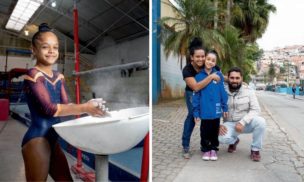A imagem mostra uma montagem com duas fotos. À esquerda, Sophia, no Centro Olimpico, colocando pó branco em suas mãos. À direita, Izabella com sua família na rua. Ela, a mãe e o pai estão abraçados.
