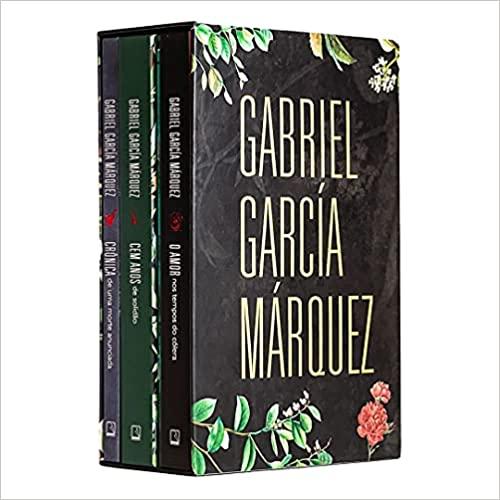 O box com três livros de Gabriel García Márquez. É preto, com detalhes de folhas e o título em branco