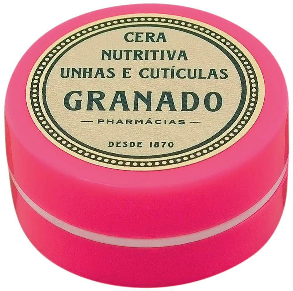 Pacote do item Cera para unhas da Granado. É rosa com verde e bege