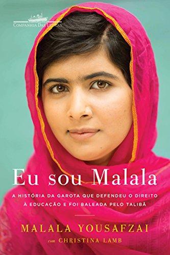 Capa do livro Eu sou Malala. Tem a jovem autora utilizando um véu rosa e olhando para a câmera