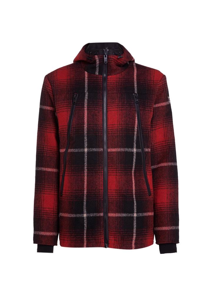 Uma jaqueta quadriculada vermelha co detalhes em preto e branco