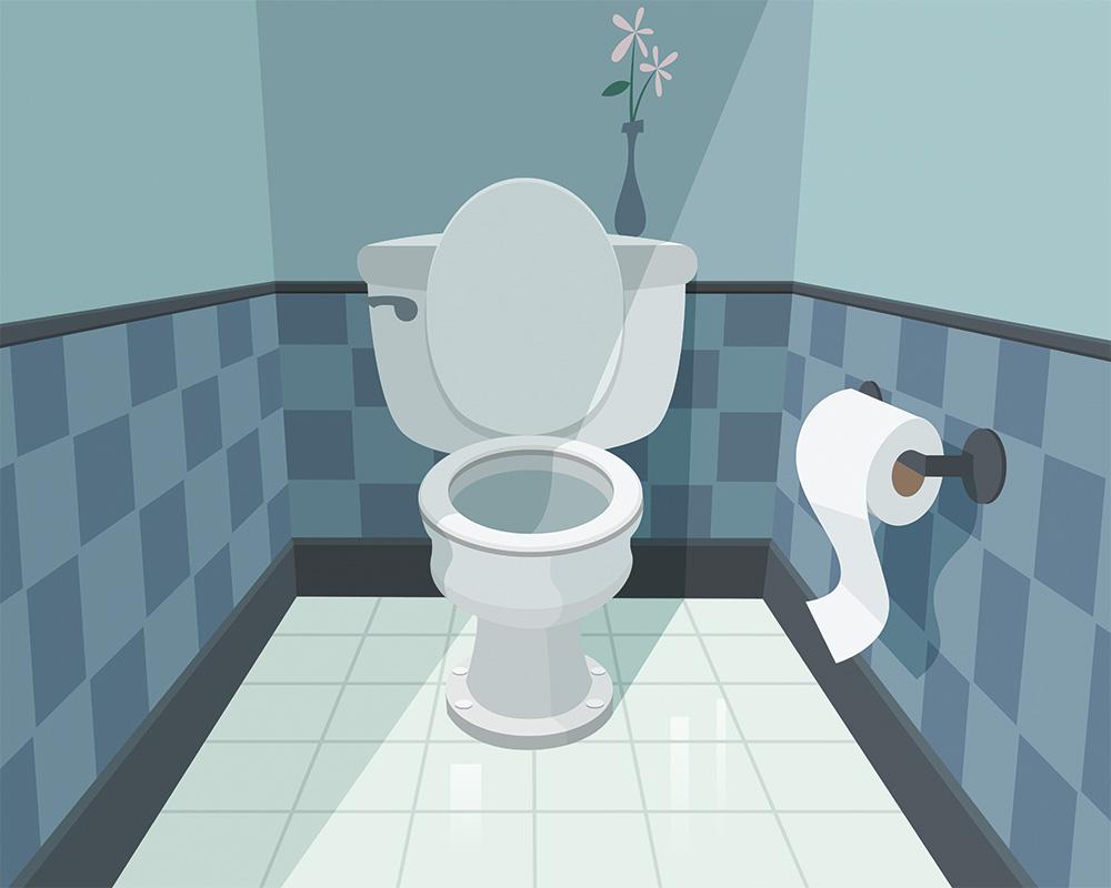 arte de banheiro azul, com vaso sanitário branco e com tampa aberta e flor em cima da caixa de água. o papéu higiênico está ao lado