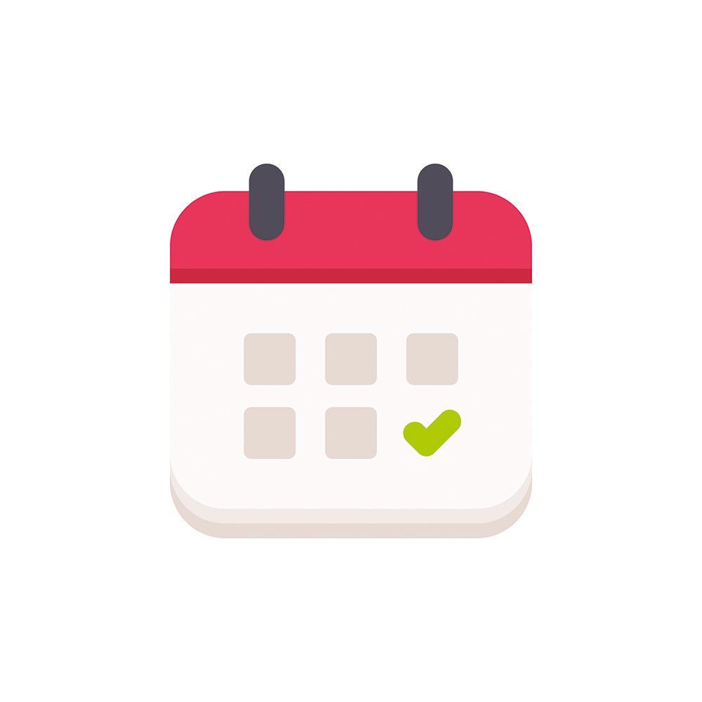 arte de calendário vermelho e branco com um check verde nele. o fundo é branco
