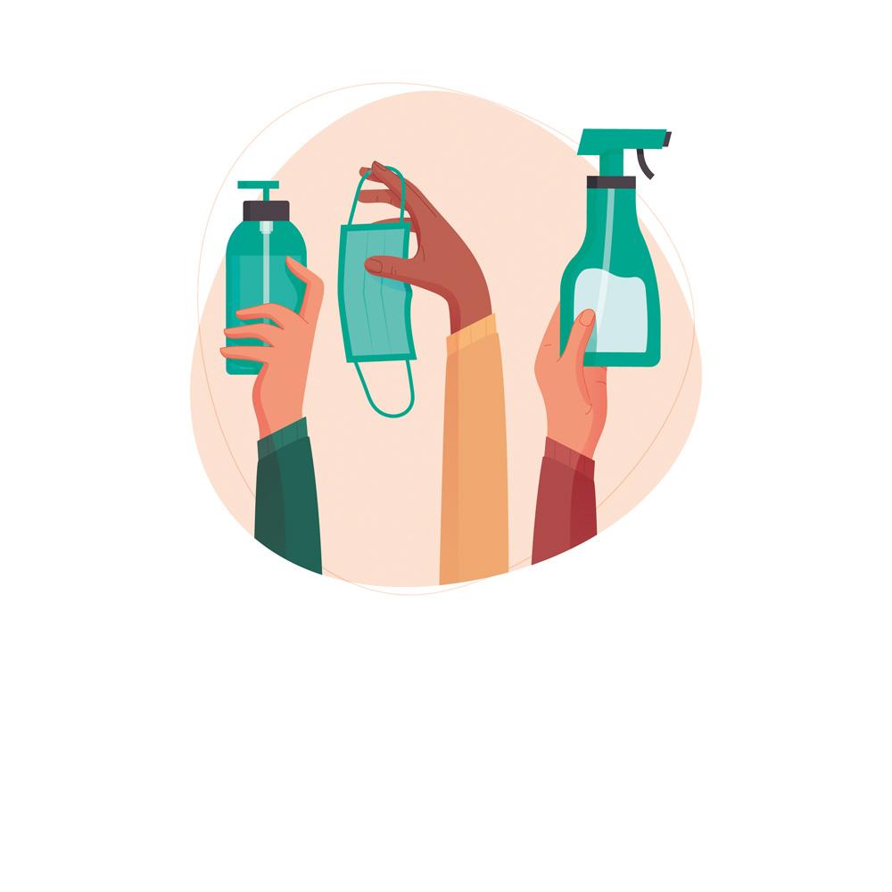 arte de mãos segurando produtos de higiene e proteção contra o coronavírus. ao todo, há três mãos, segurando uma máscara, um frasco de álcool em gel e um aspergidor. o fundo é redondo e rosa