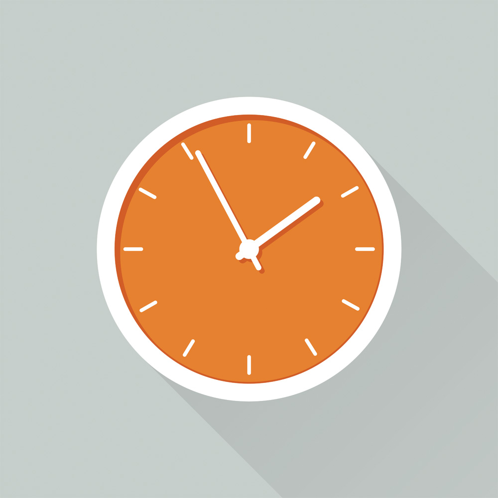 arte de relógio laranja e branco, em fundo de cor gelo