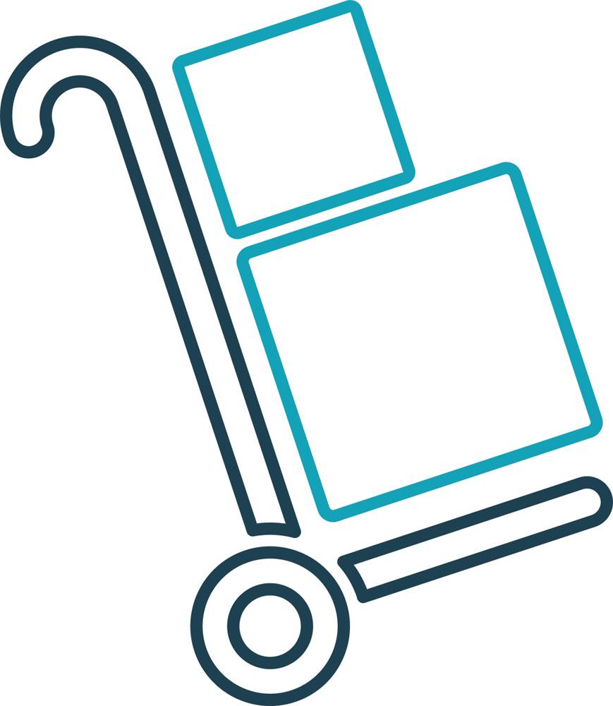 arte minimalista de traços de carrinho carregador de caixas com duas caixas