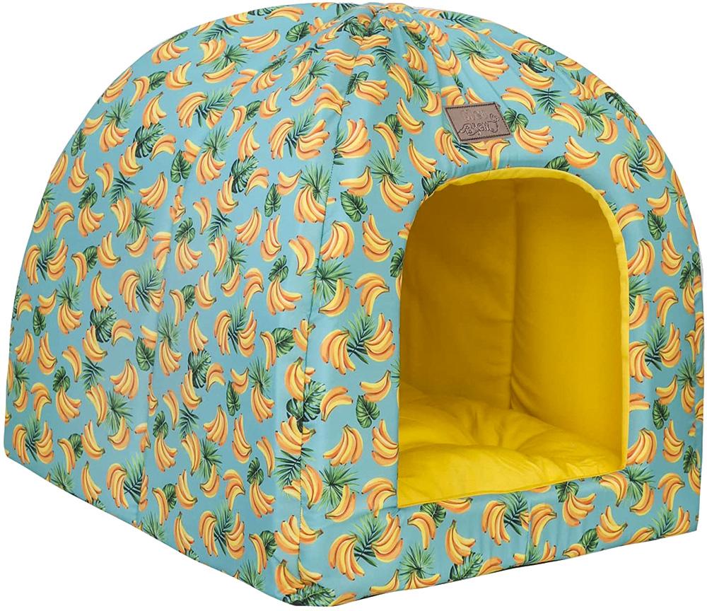 cama para pet com estampa de bananas