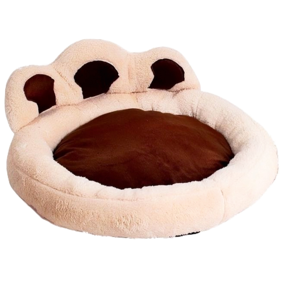 cama para pet marrom e rosa em formato de pata