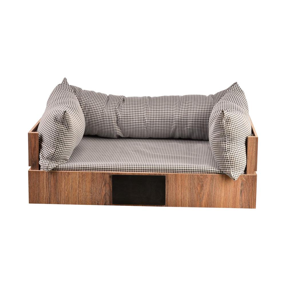 cama para pet retangular com uma plataforma de madeira e almofadinhas embaixo e em três dos lados
