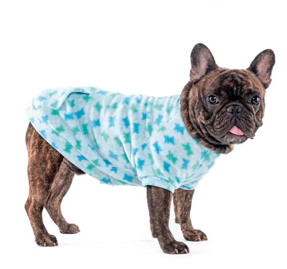 cachorro vestidode roupinha azul estampada