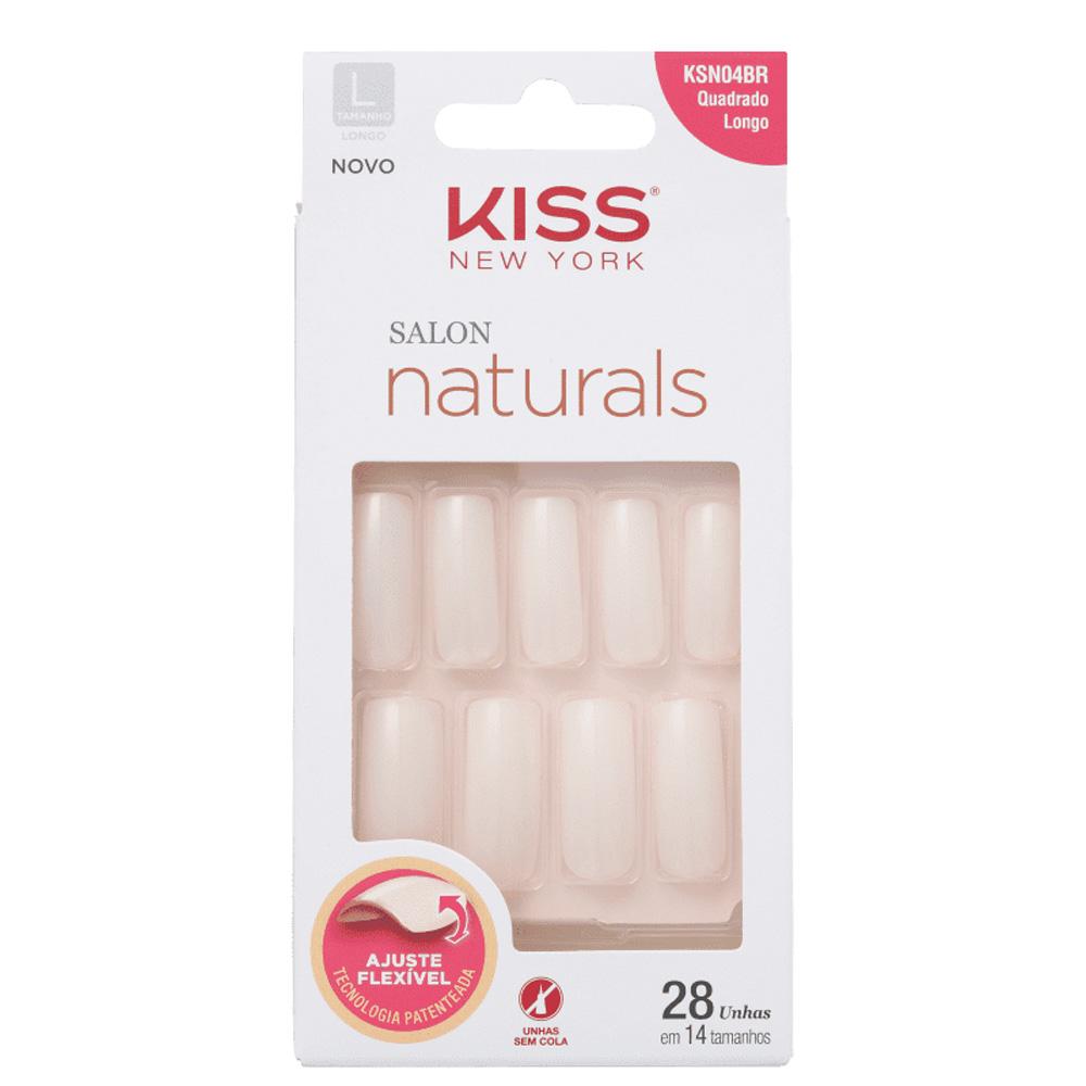 Embalagem branca com as unhas postiças dentro aparecendo. Elas são rosa claro