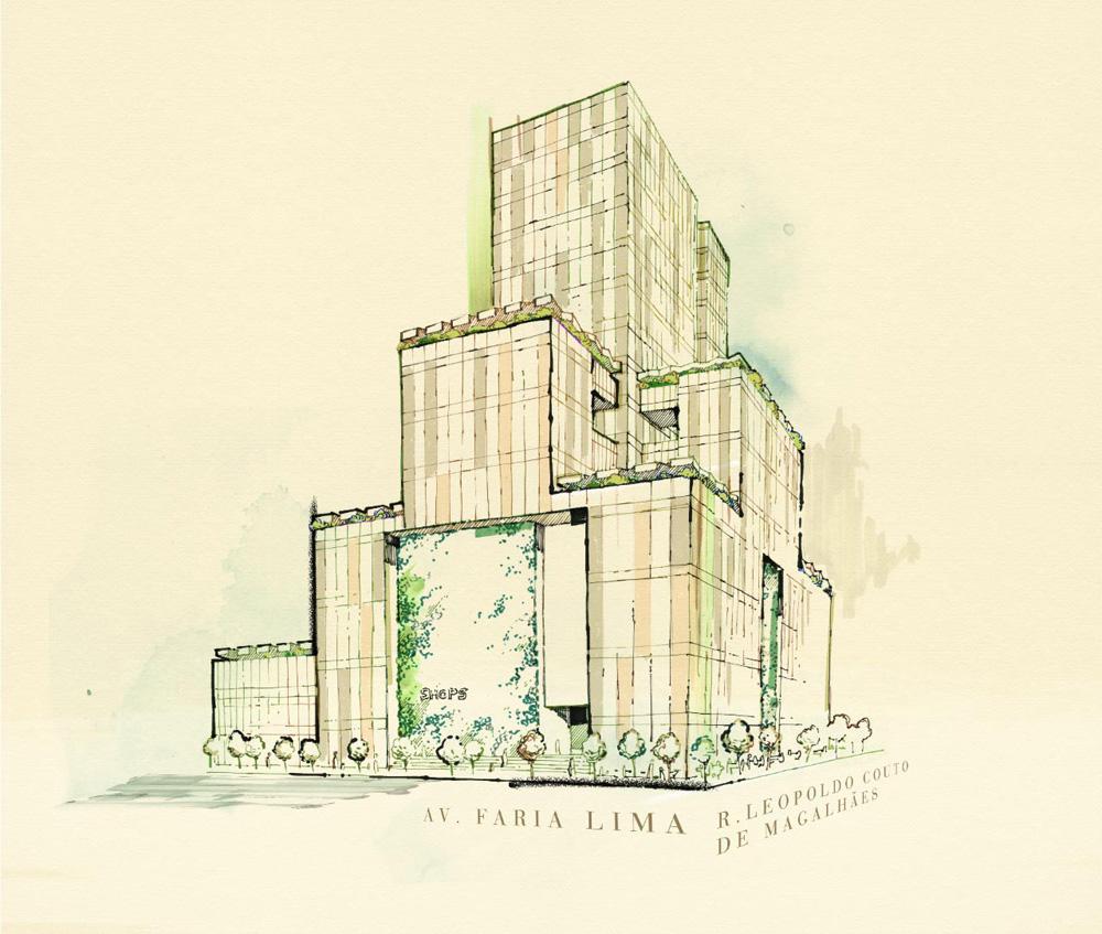 Um projeto de prédios desenhado em uma folha bege