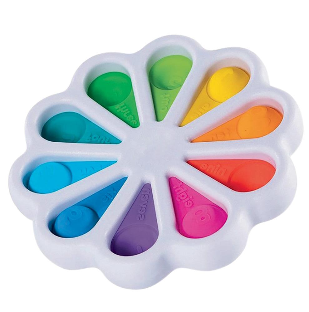 Um fidget spinner para girar branco. Tem 10 cores dividas igualmente e em cada uma delas há uma bolha de apertar