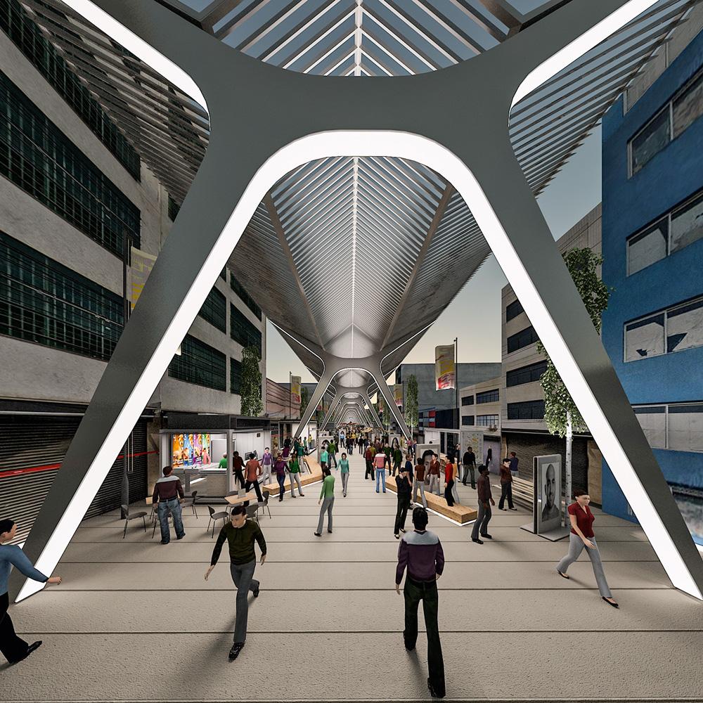 Imagem do projeto do Boulevard, que inclui um teto na rua e sem postes de luz.