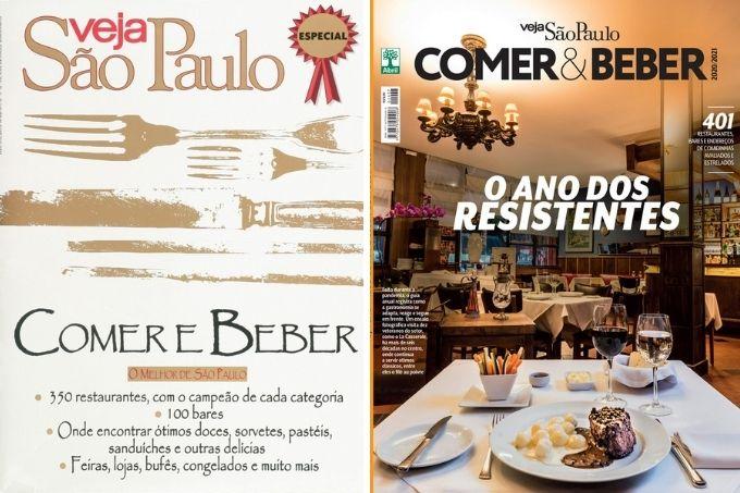 A imagem duas capas do guia anual do COMER E BEBER. À esquerda, a capa de 1997, e à direita, a capa de 2020