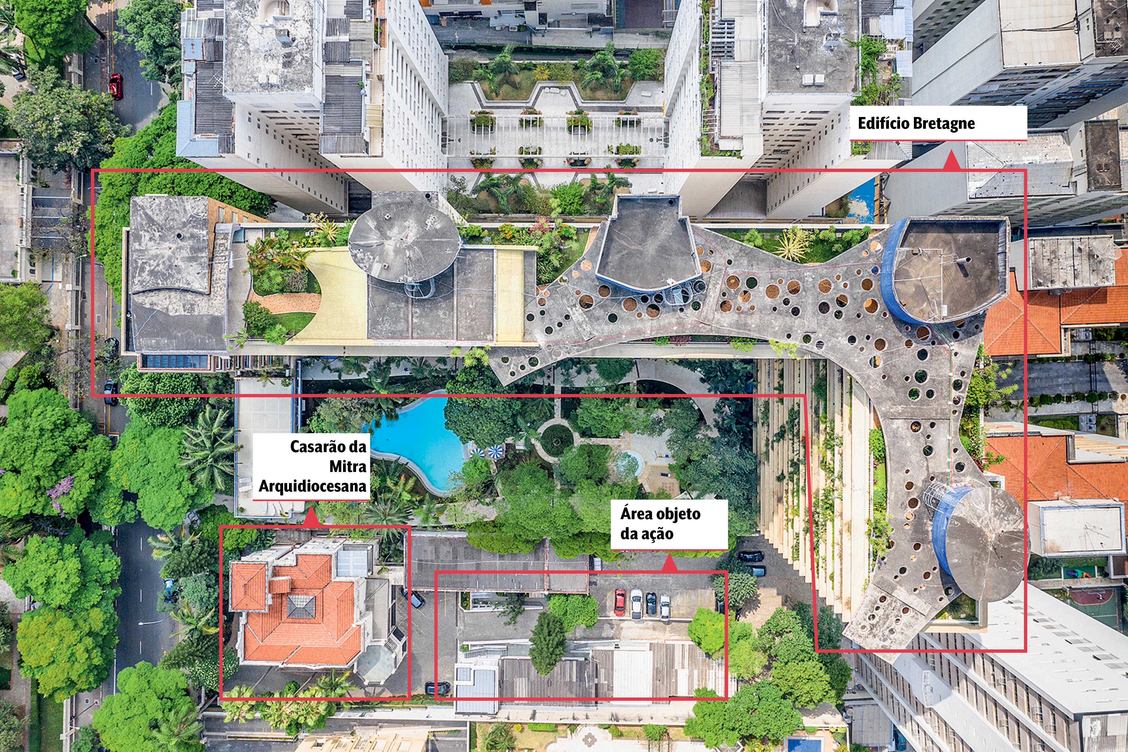 Uma foto aérea da Avenida Higienópolis que mostra o Edifício Bretagne, o Casarão da Mitra Arquidiocesana e uma área de disputa entre vizinhos. Há a demarcação dos nomes em vermelho que pertencem a cada lugar