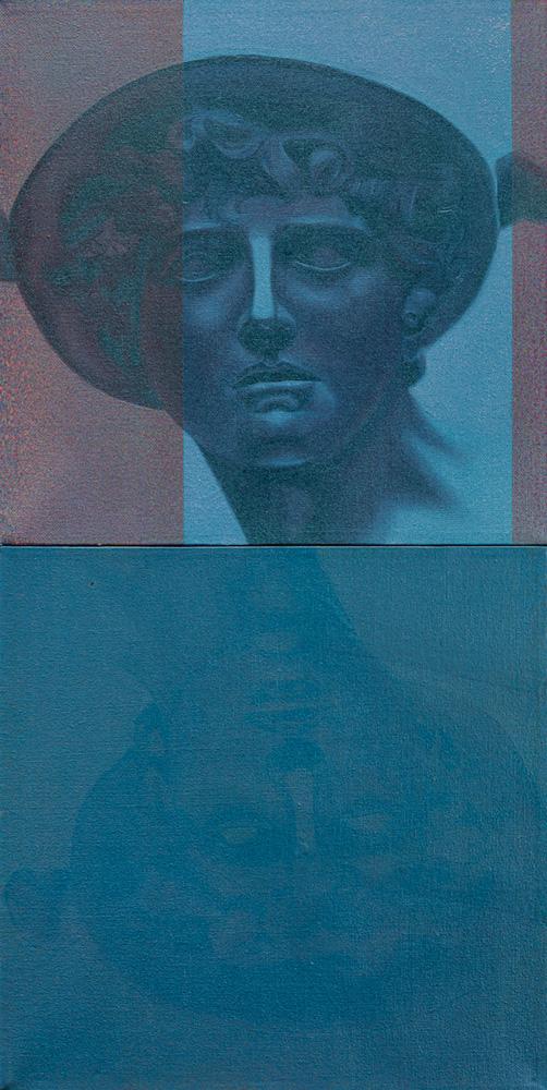 imagem dividida em dois. acima, pintura em tons azulados de uma pessoa com chapéu olhando para o horizonte. abaixo, um tom azulado geral toma a tela e é difícil distinguir algo, aparentemente, em traços bem apagados, é a reflexão da imagem de cima