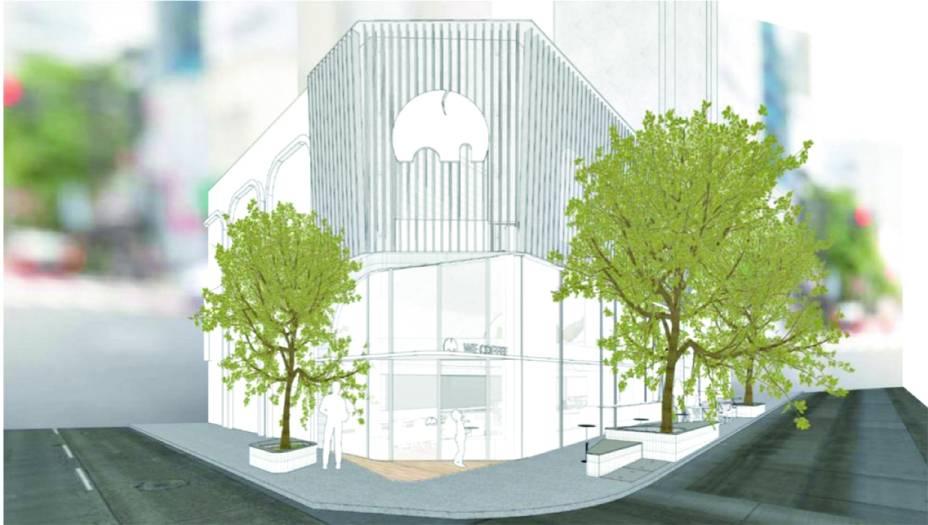 Em expansão: projeto de esquina da nova unidade da cafeteria