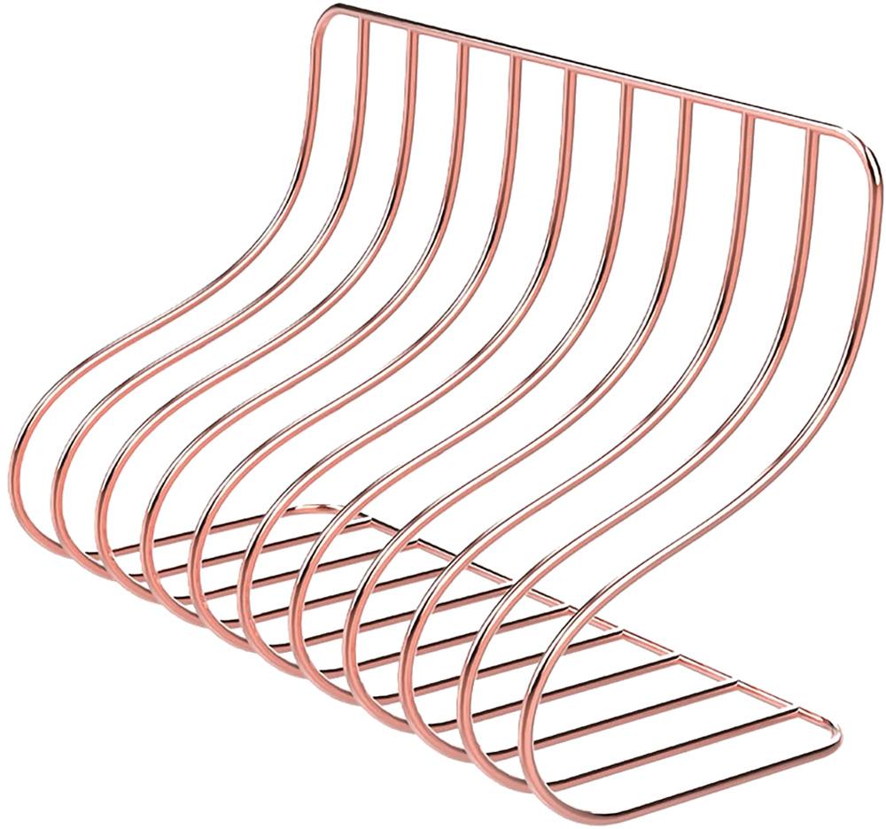 Item tem formato levemente curvado e é de metal dourado/rosé