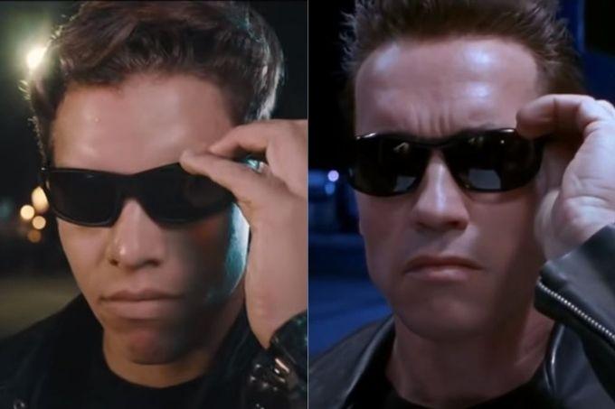 arnold-schwarzenegger-filho-joseph-baena-remake-cena-exterminador-do-futuro-semelhanças-físicas-músculos