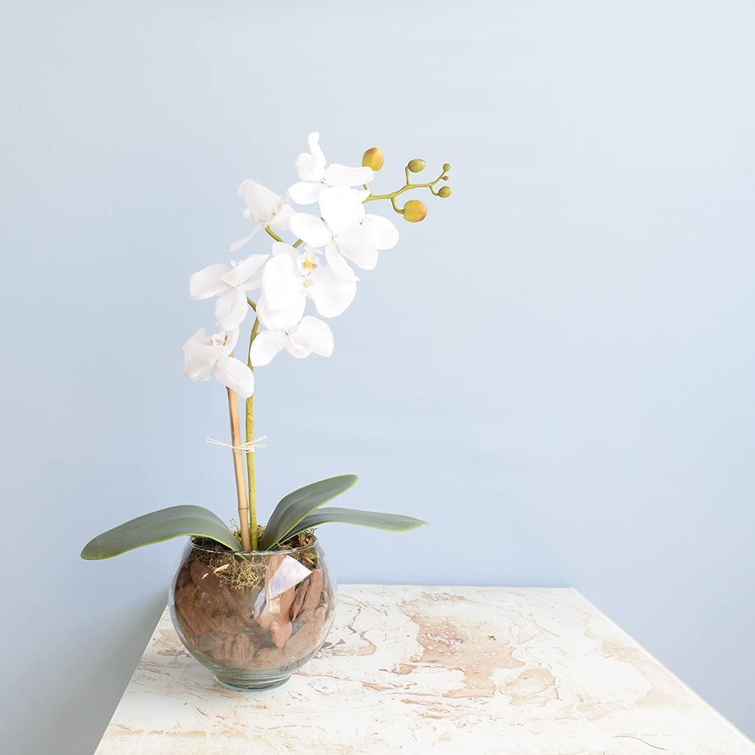 Em uma mesinha de cerâmica está um vaso artificial com uma orquídea. Parede de fundo é azul bebê