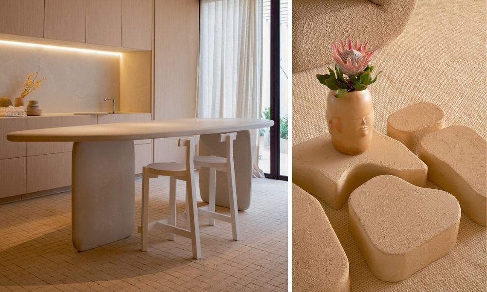 A montagem mostra duas fotos. À esquerda, uma mesa simples, com duas cadeiras tripés e encosto mínimo. À direita, a foto de algumas peças de cerâmicas, com um vaso com plantas dentro.